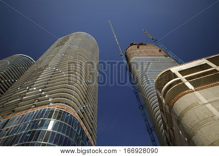 Stock photo Skyscrapers under construction Brickell FL