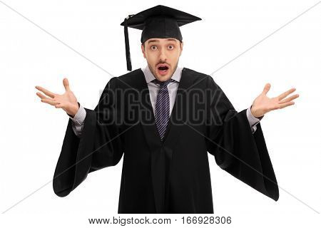 Shocked graduate student gesturing with his hands and looking at the camera isolated on white background