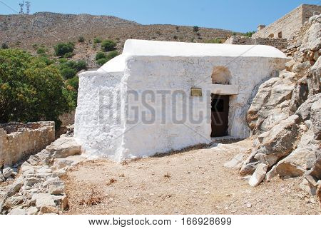 The church of Christ the Saviour in the abandoned village of Mikro Chorio on the Greek island of Tilos. The Byzantine period church dates from 1430.