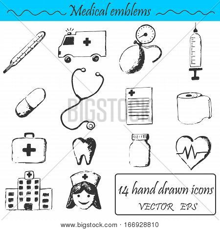 A set 14 medical icons. This emblem is drawn with a pencil.