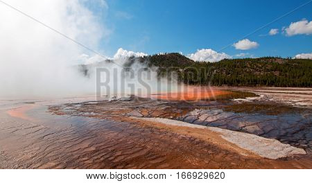 The Grand Prismatic Spring in the Midway Geyser Basin in Yellowstone National Park in Wyoming US