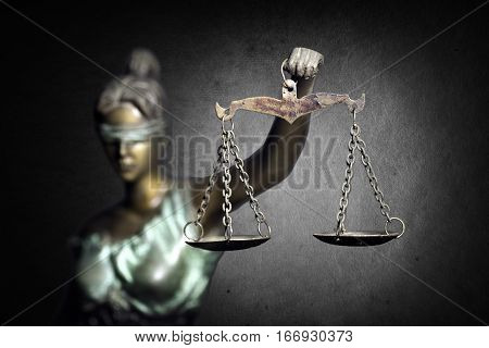 Lady Justice or Justilia or Themis against dark background