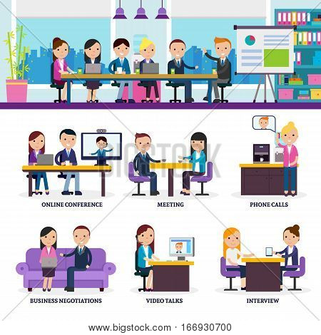 Business people meeting set in different negotiation situations in flat style vector illustration