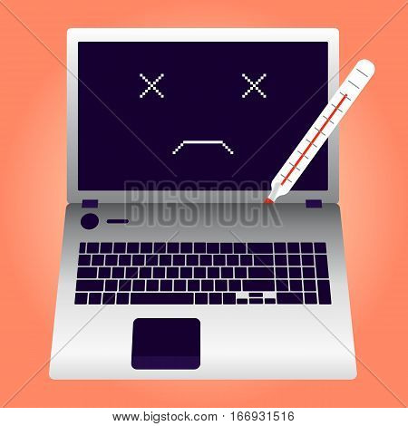 Broken laptop overheated with thermomether vector illustration EPS10