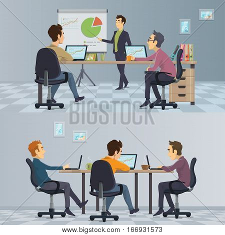 Business teamwork composition with employees at presentation and freelancers in coworking center vector illustration