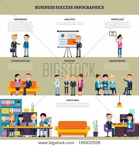 Business success flat infographics with processes of negotiation collaboration meeting discussion necessary for company development vector illustration