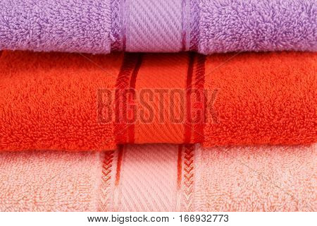Three colorful towels stack close up picture.