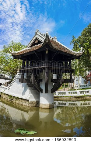 One Pillar pagoda in Hanoi Vietnam. One of beauty-spots in Hanoi the One-Pillar Pagoda (one of Vietnam's two most iconic pagodas side by side the Perfume Pagoda) is a popular tourist attraction