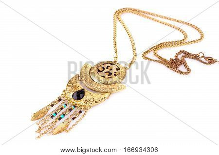 Tribal necklace isolated on a white background.
