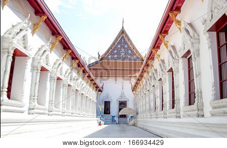 Walk Way To Buddism Royal Thailand Temple
