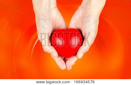Asian Hand Hold Heart On Orange