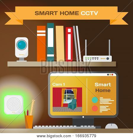 Smart home. CCTV technology system. Living room with sensors, router, camera and lights controlled wifi. Vector flat cartoon illustration