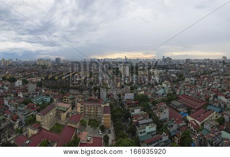 Aerial View Of Hanoi Cityscape From Lac Trung Street To Thanh Nhan Street, Hai Ba Trung District, So