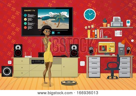 Young woman in the living room. Home theater, stereo, workplace. Technology concept smart home. Vector flat cartoon illustration