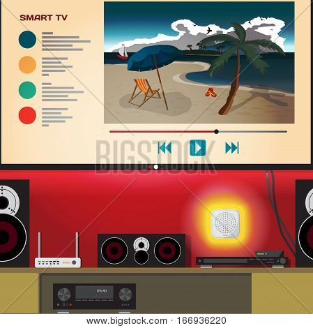 Smart home TV. Living room with home theater system controlled wifi. Vector flat cartoon illustration