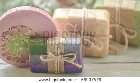Handmade Soap On Wooden Background