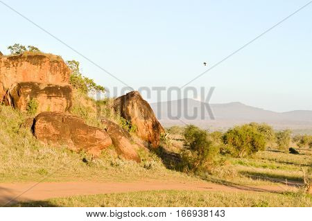 Red rock blocks in Tsavo West Park in Kenya