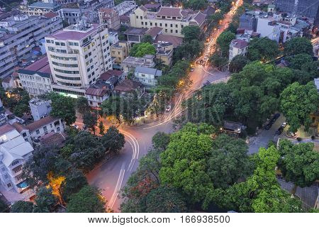 Aerial View Of Urban Skyline At Twilight. Hanoi Cityscape At Ly Thuong Kiet Street, Hoan Kiem Distri