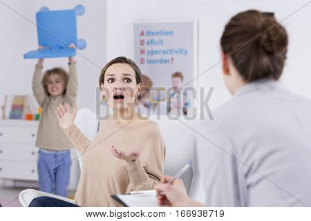 Violent Child And Terrified Mother