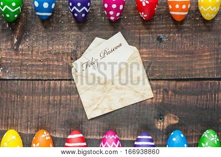 Pattern Eggs On Rustic Background