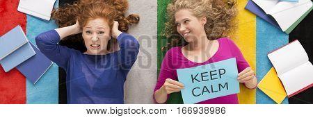 Woman Advicing Friend To Keep Calm