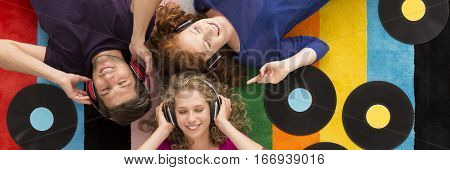 Friends Listening To Music Through Earphones