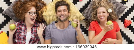 Cheerful Friends With Green Apples