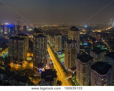 Aerial View Of Urban Skyline At Twilight. Hanoi Cityscape At Trung Hoa - Nhan Chinh Apartment Buildi