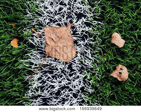 End Of Football Season. Plastic Green Football Turf