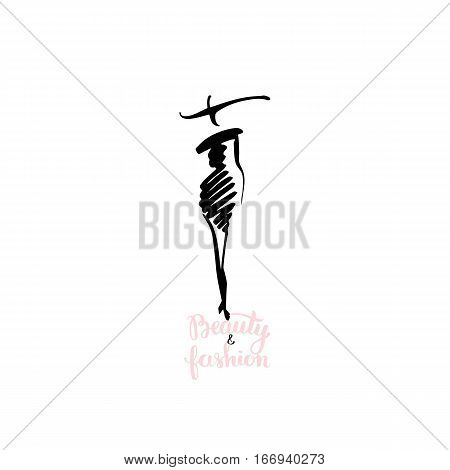 Hand drawn sketch of woman fashion figure with lettering beauty and fashion