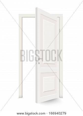 Open white door isolated. Realistic vector illustration isilated.