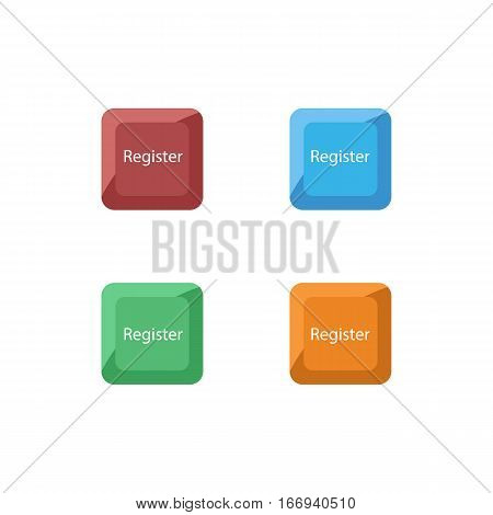 Colorful Set of Shiny Square Register Button