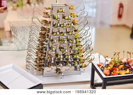 catering food olives shrimp snacks canapes fruit