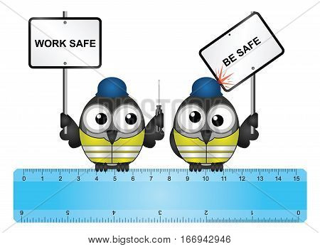 Comical construction workers with health and safety work safe be safe message perched on  a ruler isolated on white background