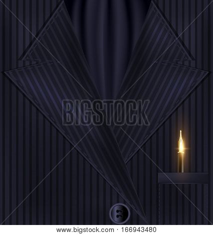 abstract dark male costume with black tie and golden writing pen in the pocket