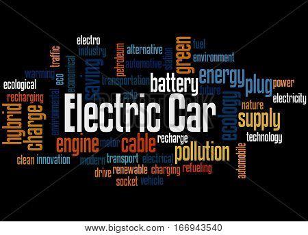 Electric Car, Word Cloud Concept 3