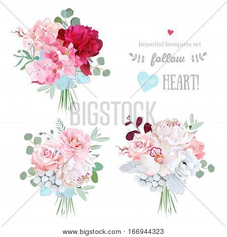 Small gift bouquets vector design set. White and burundy red peonypink rose camellia succulents brunia orchid hydrangea eucalyptus. All elements are isolated and editable.