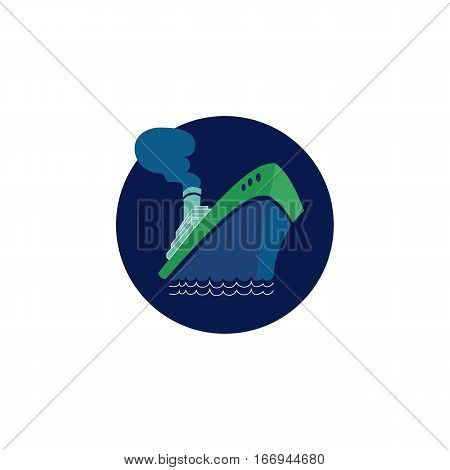 Nautical symbol concept. Ocean liner icon. Freehand drawn cartoon retro style. Maritime sea cruise ship vessel tour emblem. Vector seashore journey advertisement label background. Marine logo template