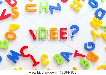 Lots Of Colorful Letters On A Table, German Word In The Center, Idea