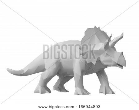 3D render of low poly style triceratops