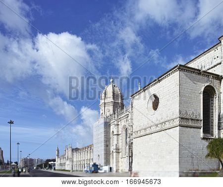 The Jeronimos Monastery or Hieronymites Monastery is located in Lisbon Portugal