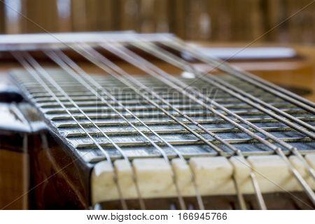 Frets of Bandurria oud Twelve string metallic dirty defocus