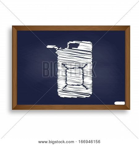 Jerrycan Oil Sign. Jerry Can Oil Sign. White Chalk Icon On Blue