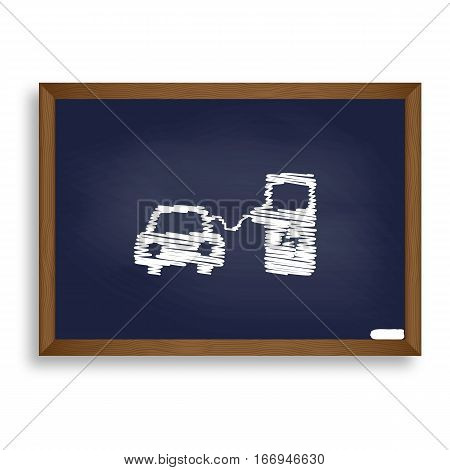 Electric Car Battery Charging Sign. White Chalk Icon On Blue Sch