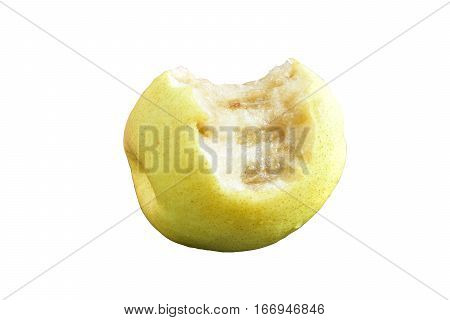 Chinese pear yellow fruit eat by people and start rotten bad taste isolated on white background with clipping path.