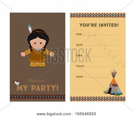 Invitation to party card invitation with American Indian girl for children's party. Template of card invitation front and back page vector illustration.