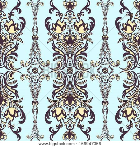 Damask Floral Seamless Pattern With Arabesque, Multicolor Oriental Ornament. Abstract Traditional De
