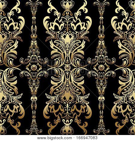 Gold Damask Floral Seamless Pattern With Arabesque, Oriental Ornament, Luxury Design. Abstract Tradi