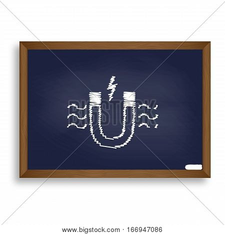Magnet With Magnetic Force Indication. White Chalk Icon On Blue