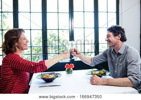 Middle-aged couple toasting champagne flute while having lunch in a restaurant